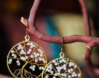 Tree Of Life Hoop Earrings With Crystals In Brass