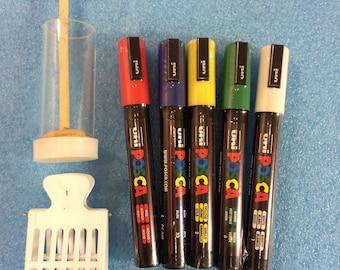 5 pcs Queen bee marking pens, Marking queen Cage Bottle with Plunger, queen catch. FULL SET.