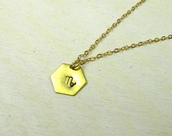 Zodiac necklace, virgo virgin charm, star sign necklace, gold colored brass chain, personalized jewelry, birthday gift, handmade