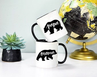 Mama Bear and Papa Bear Mug Set, Mama and Papa Set, Mama Bear Mug, Papa Bear Mug, Rose Gold Rebel, Parents Mug Set, Mom and Dad Mugs