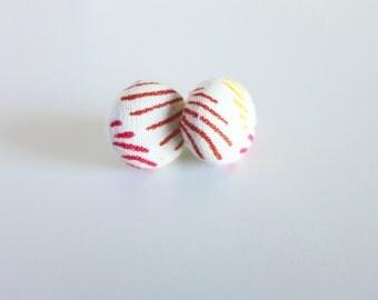sunburst print fabric button earrings