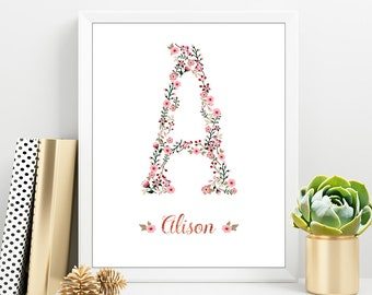 Custom Letter Print, Nursery Decor Girl, New baby Girl, Watercolor Flower Print, Nursery Wall Art, Digital Print Shop