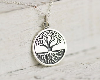 Tree Necklace - Sterling Silver Etched Tree with Roots Charm Necklace - Tree of Life Necklace - Family Tree of Life - Strength Necklace