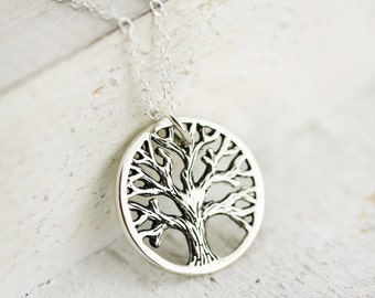 Rustic Tree of Life Necklace -Sterling Silver Tree of Life Pendant  Round Tree of Life  Tree Pendant  Family Tree Necklace  Woodland Jewelry