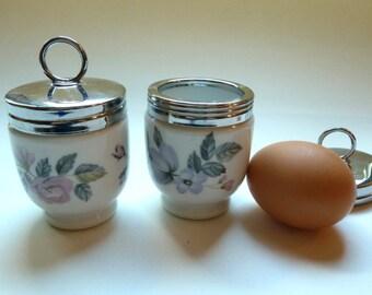 Vintage Royal Worcester Egg Coddlers - Pair Porcelain Egg Coddlers - Cottage Chic Baby Food Warmer, Egg Coddler - Victorian Style