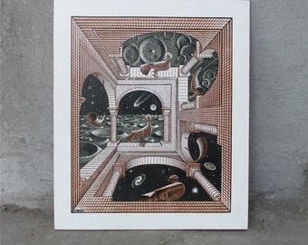 After M.C. Escher  Other World Wood Cut Engraving Print