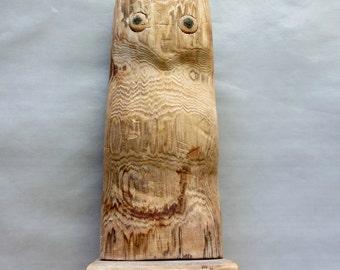 Folk Art Primitive Owl Sculpture Hand Carved Wood Hibou Bois