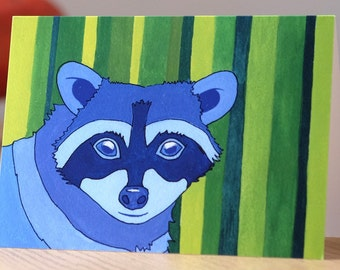 Secret Philip greetings card from original gouache painting - handpainted animal print card raccoon bright bold usa