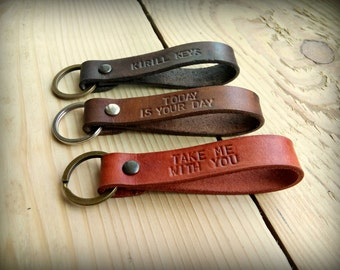 Personalized Custom Leather Keychain - Hand Stamped, Hand Dyed Personalized Keychain - Father's Day Gift