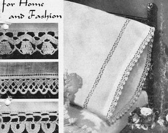 Vintage Crochet Pattern Book, crochet edgings patterns, 15 pages, Instant pdf Download, Digital download