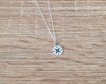 Sterling Silver Compass Necklace, Tiny Nautical Charm Pendant, Graduation Gift, Compass Jewelry, Beach Charm Pendant, Minimalist, Ocean