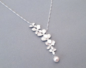 Silver Plated Orchid Flower Necklace Wedding White Swarovski Pearl Element Bridesmaid Jewelry Bridal Gift