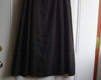 Black Button-down Midi Skirt by Fundamental Things, Size 4 Petite, Side Pockets