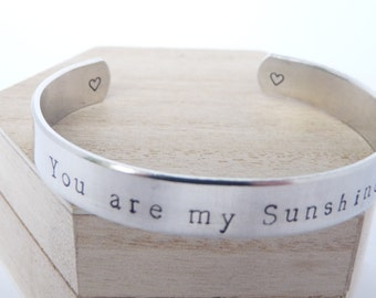 YOU ARE MY Sunshine, Bracelet, Child/ Adult Size, Bangle, Inspiration, Mother's Day, Birthday gift, Mother / Daughter set, Jewellery, Niece