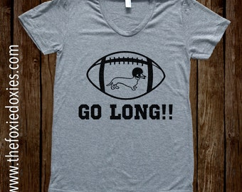 GO LONG!! Heather Grey T Shirt, Dachshund, Doxie, Doxies, Weiner Dog, Football, Dachshund Lover, Dachshund Shirt, Wiener Dog, Sausage Dog