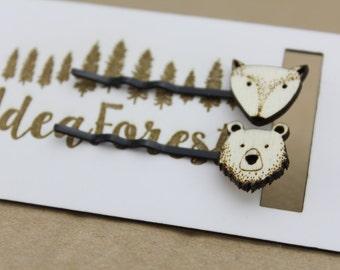 wooden hair pin, hair clips,  bobby pin, fox hair pin, bear hair pin, wood hair clip,hair accessories