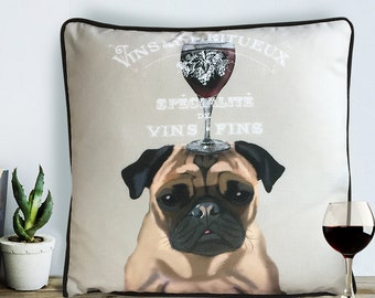 Pug gifts wine gift Pug pillow Pug cushion wine décor wine pillow cover Decorative Throw PillowThrow cushion dog scatter cushion dog lover