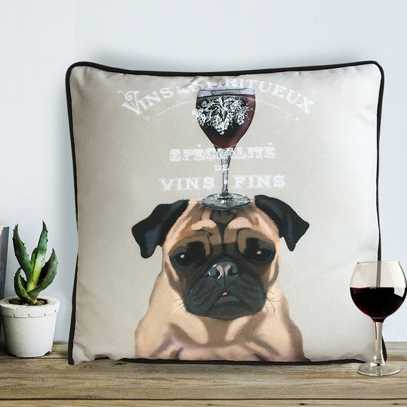 Pug gifts wine gift Pug pillow Pug cushion wine décor wine pillow cover Decorative Throw Pillow Throw cushion dog scatter cushion dog lover