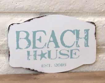 Beach House Sign, Custom Sign, Beach Decor, Rustic Sign, Wall Decor, Home Decor, Starfish, Coastal Decor, Housewarming Gift, Distressed