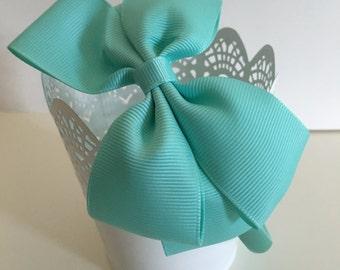 Green, Light Green, Light Blue,Pink,Blue,White,Yellow,Green,Grosgrain,Headband,Girls Headband,Baby,Bow,Grosgrain,Hair Bows,Big Bow Headbands