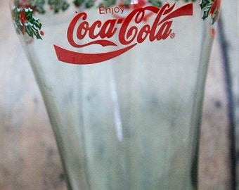 Coca Cola Christmas Glass-Coke glass-Holiday coke glass with holly-Vintage Coca Cola- Holiday Glass Tumbler