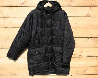 RALPH LAUREN  Puffer Coat winter coat padded red logo woman black hooded zip closure buttons Taglia/Size: L
