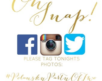 Social Media Wedding Sign Hashtag