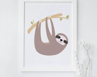 sloth wall art, animal print, tropical print, sloth nursery print, printable wall art, instant download, sloth wall art, cute animal print