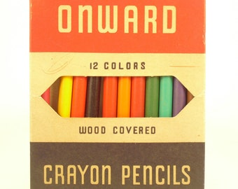 Vintage Wooden Crayon Pencils, Onward, 1940s, Multicolor Wood Covered Wax Pencils, Coloring Supplies, Adult Crayons, Wood Pencils, Display