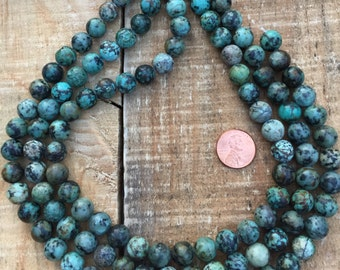 African Turquoise AAA+ 10mm round bead, 15.5 inch strand