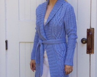 Blue Cardigan, 100% Wool, Ready to Ship
