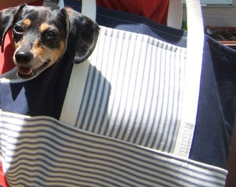 Small Dog Carrier Tote, Blue Pet Carrier
