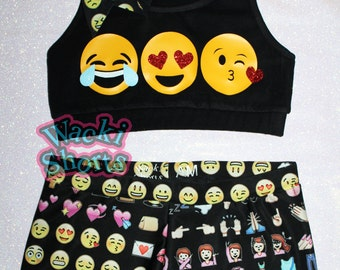 Crazy EMOJI - Wacki Set - Cute Emoji Bra, Bow and Wacki shorts Set
