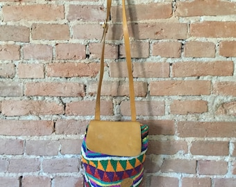 Vintage Knit Cotton and Leather Purse