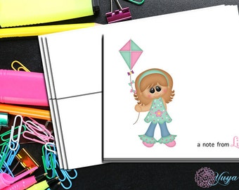 Personalized Summer Girl Note Cards / Custom summer Stationery / Girl Stationery Set / Girl Thank You Cards / Set of 12 girl Note Cards