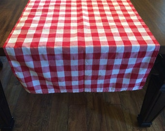 Great Red And White Checked Table Runner, Picnic Checkered Table Runner, Red Gingham  Table Cover