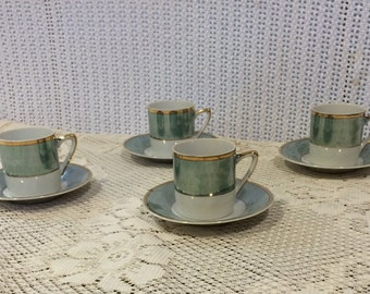 Green, white, and gold Espresso Set (cups and saucers)
