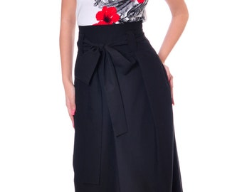 Plus Size Maxi Skirt Black Long Skirt High Waist Skirt Belt