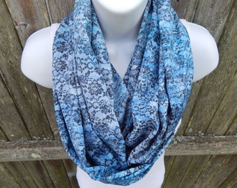 Blue / Grey Floral  Infinity Scarf
