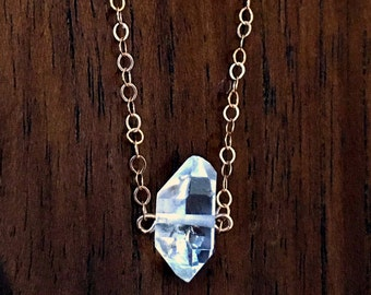 Natural Herkimer Diamond Double-Terminated Rose Gold Minimalist Necklace - April Birthstone