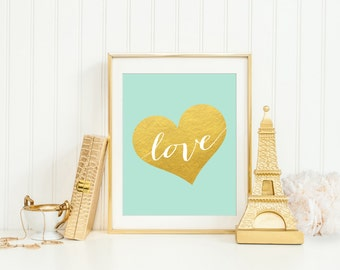 Gold Heart Printable, Mint Green And Gold Office Decor, Gold Nursery Decor, Mint Green Nursery Wall Art, Mint Green And White Striped Print