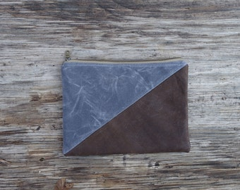 Triangle Zipper Pouch, Leather and Waxed Canvas Pouch - Charcoal  / Dark Brown Leather. Organization, Bridesmaid Gift, Unisex Gift. Storage
