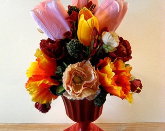 Poppies and Tulips   in Red Urn, Great for a lady's Vanity or bed side table.