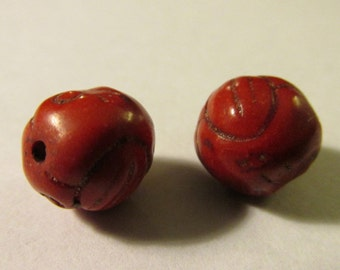 Carved Scarlet Red Howlite Beads for Jewelry Making, 10mm, Set of 2