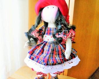 """Doll country 25 cm/textile//Handmade country rag doll doll 10 """"/Poupée rustique fait à la main (muñeca-bebek-boneca)"""