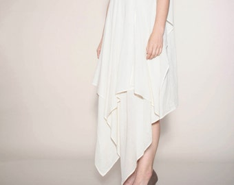 elegant, lightweight dress draped organic cotton in cream-white vonHirschhausen