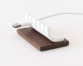 Cable Organizer, Walnut Desk Cord Holder, Cable Tidy, Cable Management, USB Cable, Wood Desk Organizer, Walnut, Corian, Solid Surface, Cord