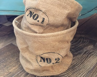 Set of Burlap Pots