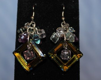 Geometric Swarovski Cluster Earrings