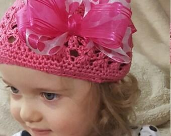 Embellished Pink Crochet Toddler Hat